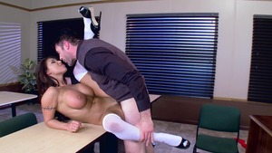 Big Tits at School: Brunette August Taylor blowjobs