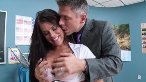 Big Tits at School: Peta Jensen in uniform reverse cowgirl HD