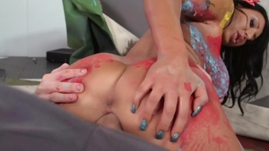 BabyGotBoobs: Pierced August Taylor spanking in sexy stockings