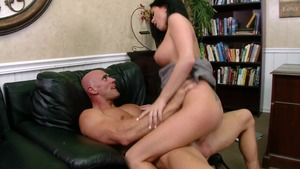 Big Tits at Work: Business woman Loni Evans reverse cowgirl