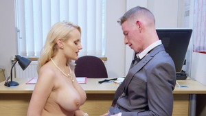 Big Tits at Work: Angel Wicky is a very slim business woman
